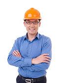 asian man with orange safety hat