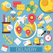Vector Flat Design Icons Illustration for Delivery Service or Logistics