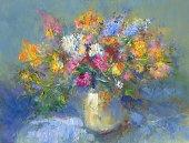 painted vase of flowers