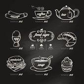 menu icons doodle drawn on chalkboard background .Vector vintage