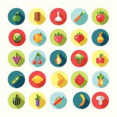 Set of flat design fruits and vegetables icons
