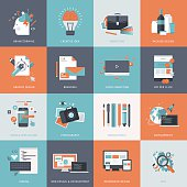 Set of flat design concept icons for web design