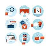 Set of flat design icons for web design development
