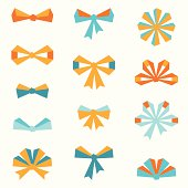 Set of various abstract bows and ribbons.