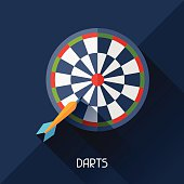 Game illustration with darts in flat design style.