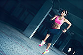 strong fitness woman running