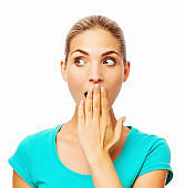 Shocked Woman With Hands Covering Mouth