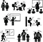 School Education Social Problem Stick Figure Pictogram Icon Clipart