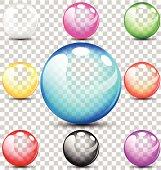 Colorful translucent bubbles