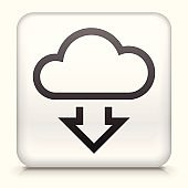Square Button with Download Cloud royalty free vector art