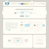 Flat Website template with navigation elements and icons