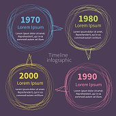 Timeline Infographic scribble speech bubble text dark. Template. Flat