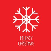 Big snowflake. Red background. Merry Christmas card.
