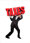 businessman in stress carrying heavy taxes 3d text