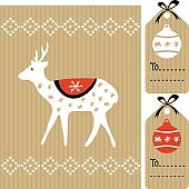 Christmas greeting card, gift tags with reindeer, balls, vector