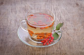 goji fresh antioxidant tea in glass cup and barberries