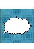 Comic Speech Bubble on a blue background. Vector
