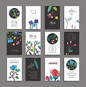 Collection of  cards with flowers