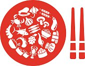 asian food icons in plate