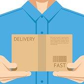 Delivery courier postal man delivering package flat design background concept