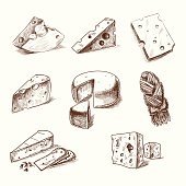 Hand drawn doodle sketch cheese with different types of cheeses