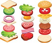Sandwich and Hamburger Ingredients Set