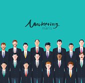 Minimal flat character of business marketing man's concept illustrations