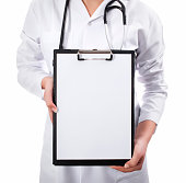 Doctor showing medical document notes