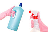 Hand holding a detergent and Spraying cleaning liquid