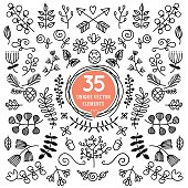 Set of 35 unique vector elements