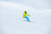 Men snow skier skiing, enjoying on ski resorts  Winter sport