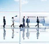 Group People Airport Business Travel Communication Concept