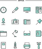 set of thin line flat office icons