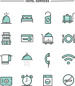 set of flat design, thin line hotel services icons
