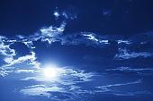 Full moon against night sky