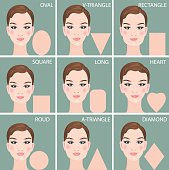 Set of nine different woman's face shapes. Vector