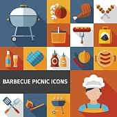 Barbecue picnic flat icons set