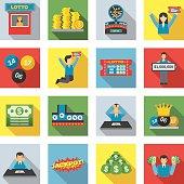 Lottery Icons Flat Set