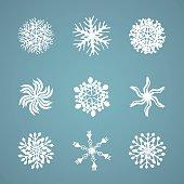 Hand drawn snowflake winter set