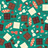 Seamless pattern with chocolate sweets isolated on green background