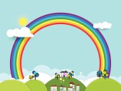 Paper cut-fantasy home sweet home ,sky with sun and rainbow