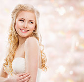 Woman Blond Hair, Fashion Model Portrait, Young Girl Beauty Smiling