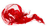 Red Cloth Isolated Over White Background, Fabric Freeze Waving Motion