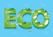 vector eco green city concept. flat design.environment and ecology background