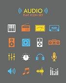 Vector Flat Icon Set - Audio