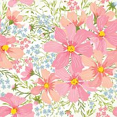 Vector seamless floral romantic pattern