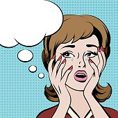 Crying frustrated woman with empty speech bubble. Vector illustration