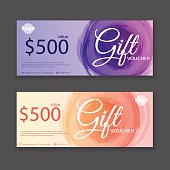 Gift voucher template with watercolor, Gift certificate. Backgro