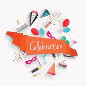 Celebration background with ribbon and party entertainment