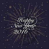 New year 2016 Greeting Card. Typography postcard template. Vecto